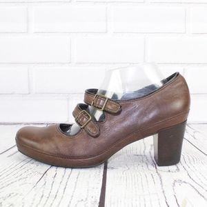 Clarks Artisan Two Strap Mary Jane Heels Shoes 10